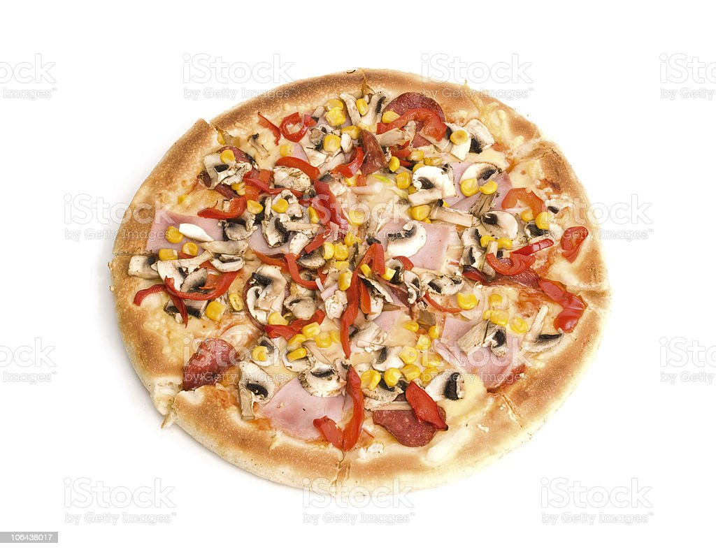 Pizza with ham, mushrooms, pepper and corn. stock photo