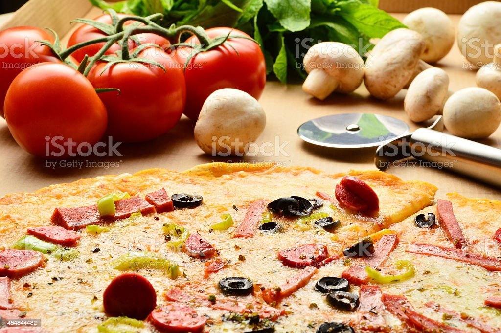 Pizza with Ingredients stock photo