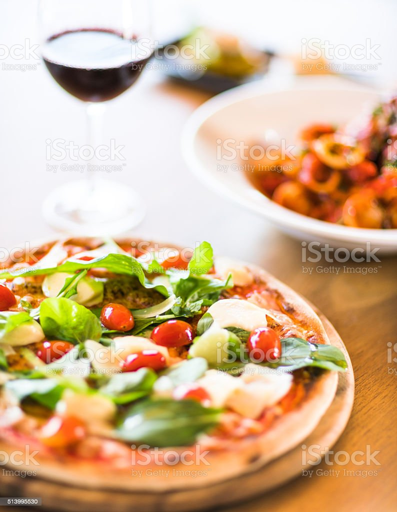 pizza with mozzarella stock photo