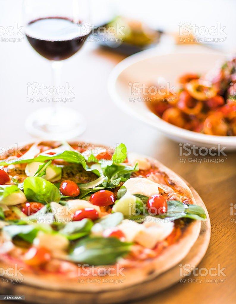 pizza with mozzarella stock photo