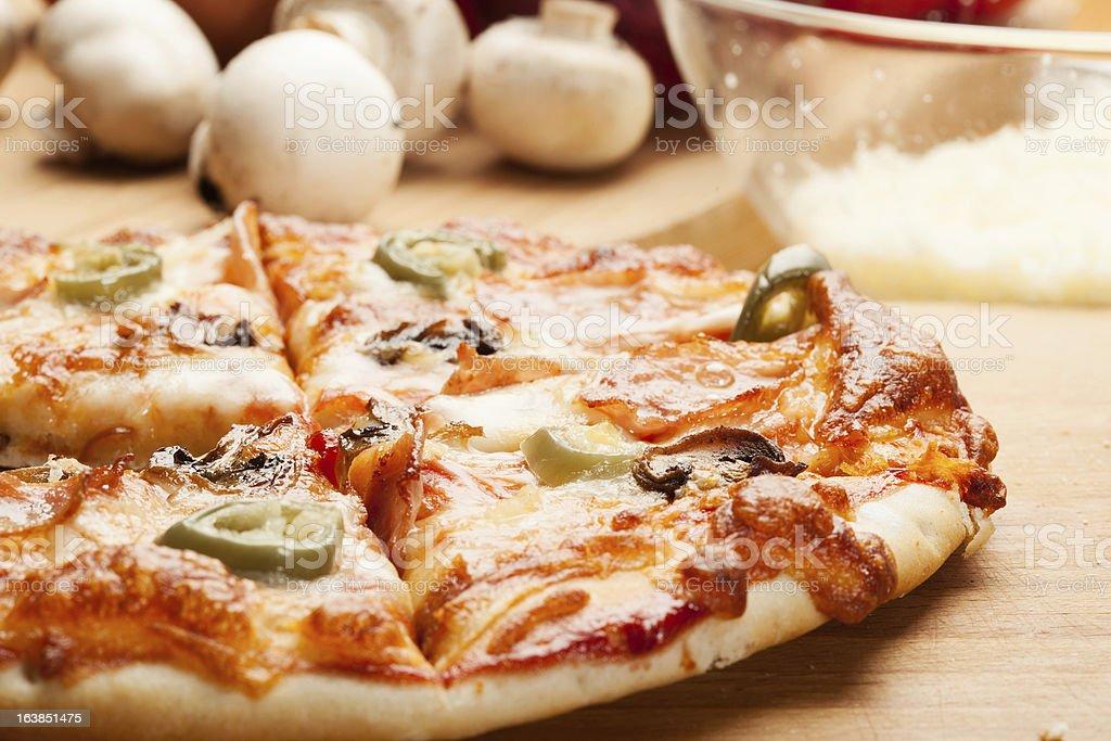 Pizza with mushroom royalty-free stock photo