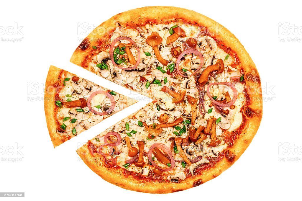 Pizza with mushrooms and spring onions stock photo