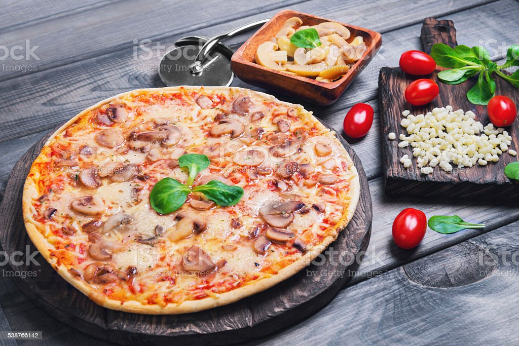 pizza with mushrooms stock photo