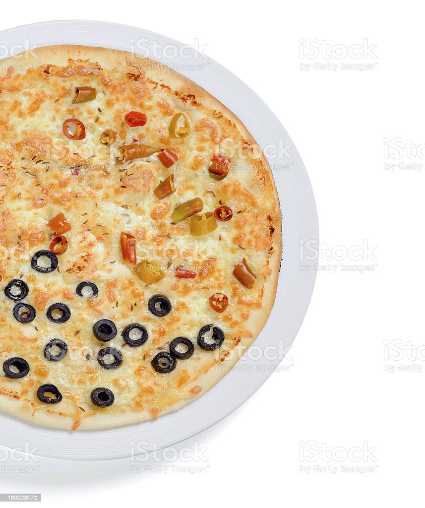 Pizza with olives and chilli royalty-free stock photo