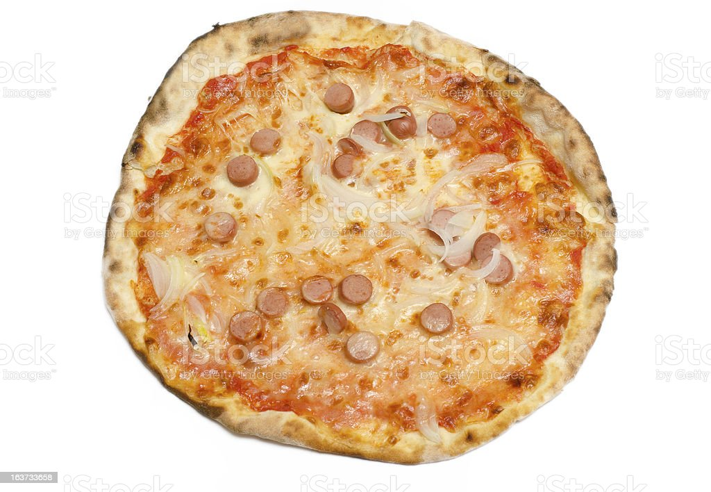 Pizza with onion and wurst royalty-free stock photo