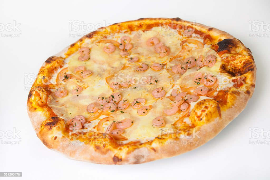 Pizza with pineapples and shrimps stock photo
