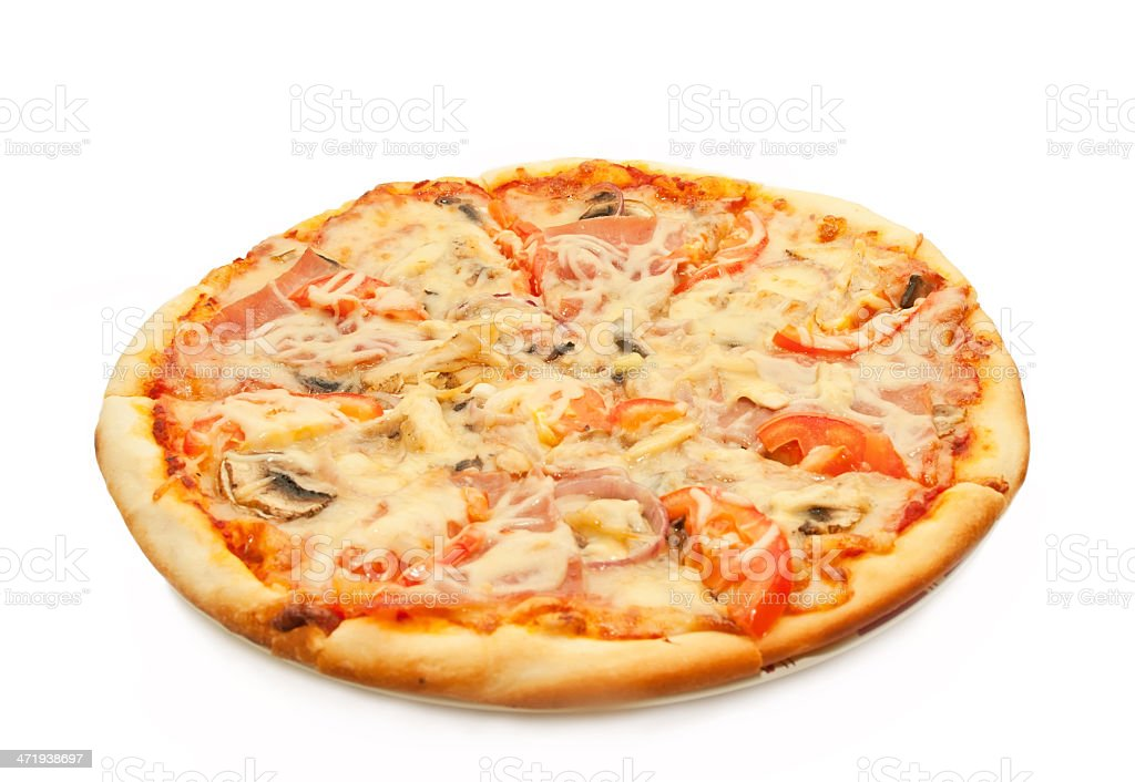Pizza with salami, tomatoes and chicken isolated stock photo