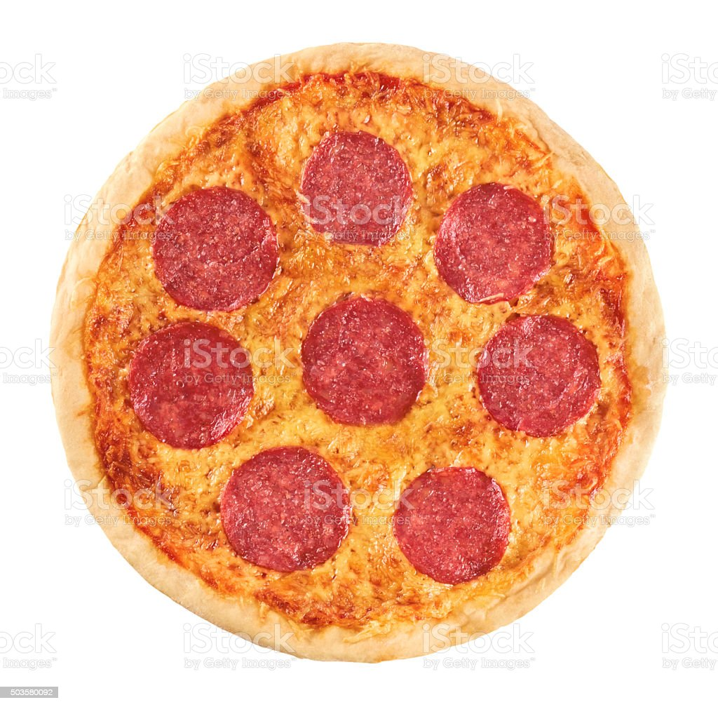 Pizza with sausage on a white background. Pepperoni. stock photo