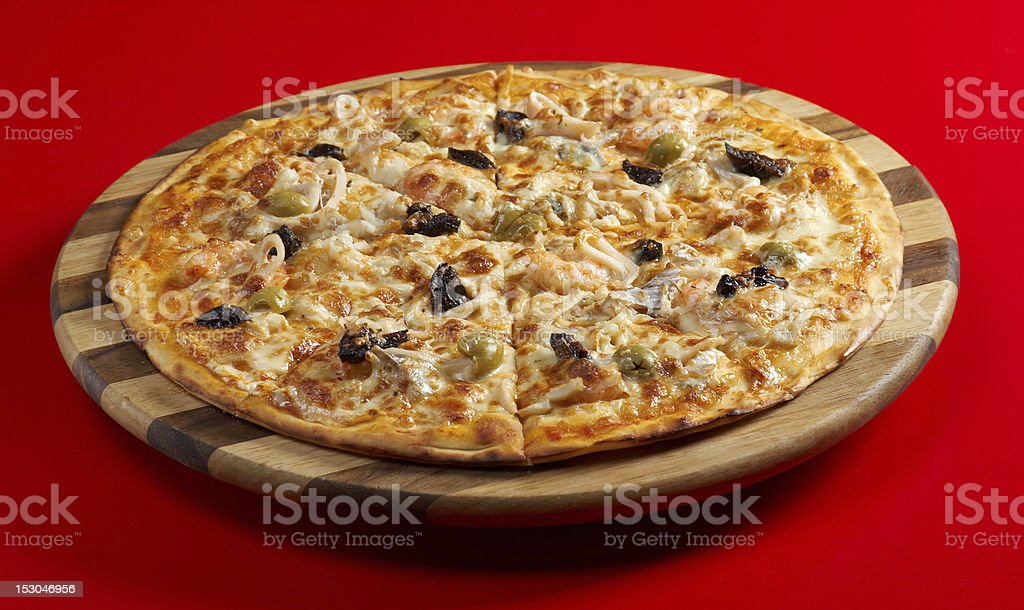Pizza with seafood royalty-free stock photo