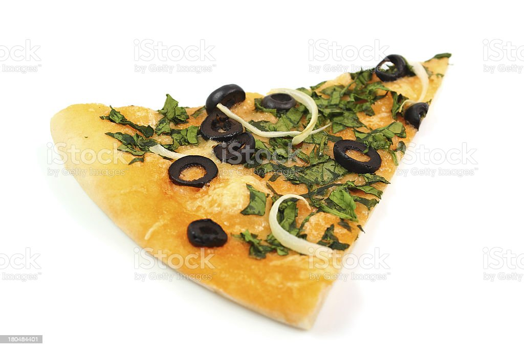 Pizza with Spinach and Olives royalty-free stock photo