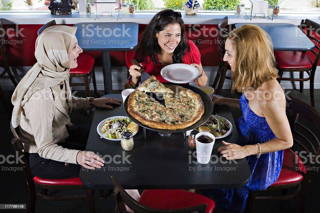 Pizza with the Girls royalty-free stock photo