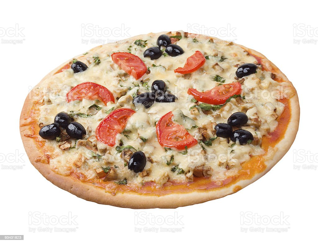 pizza with tomato and eggplant royalty-free stock photo