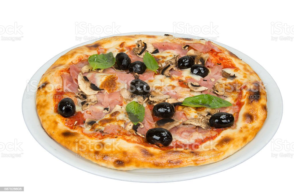 Pizza with tomato sauce, bacon, mushrooms and olives. stock photo