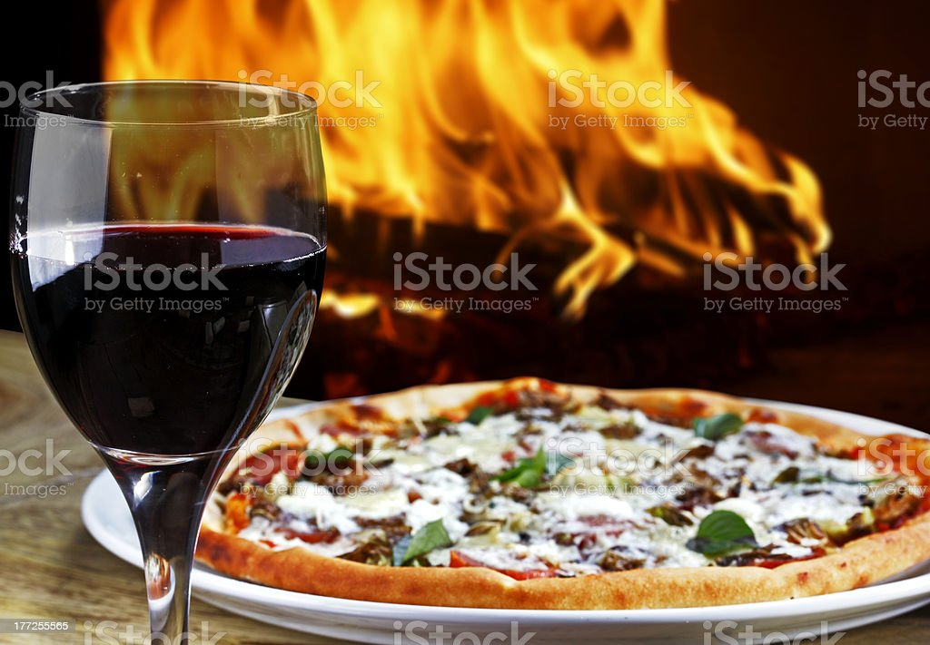 Pizza with wine stock photo