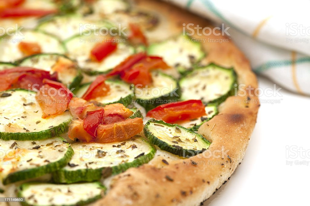 pizza with zucchini and tomato royalty-free stock photo
