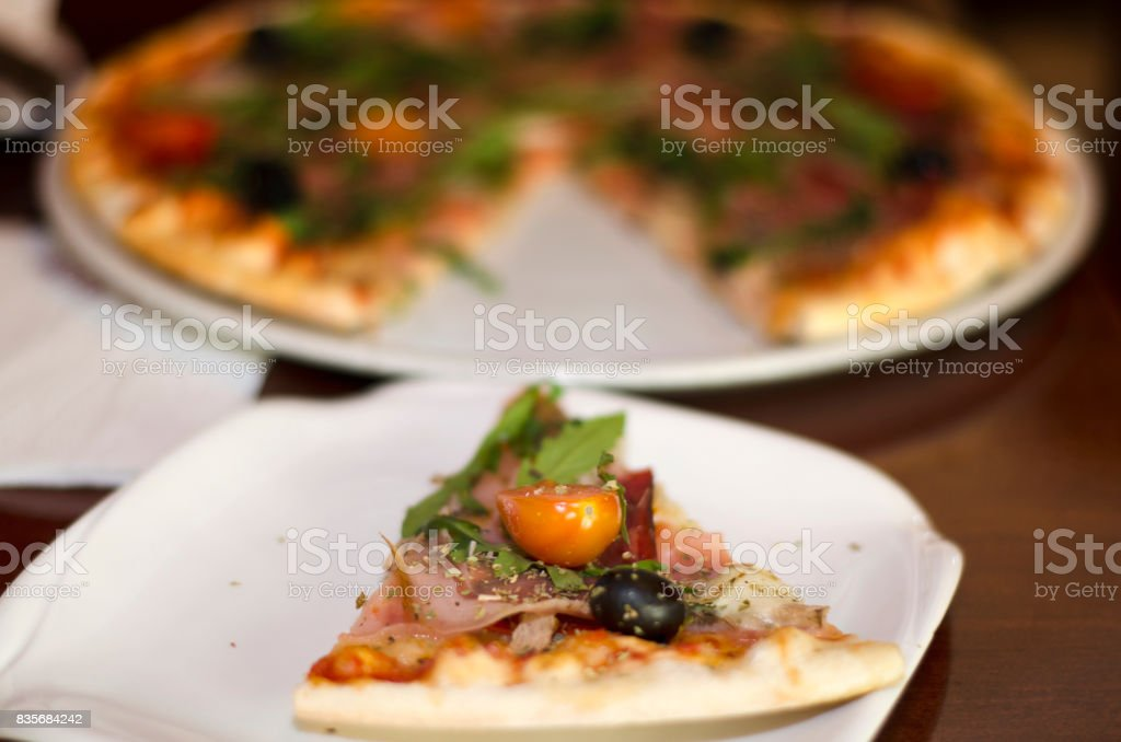 Pizza without one piece stock photo