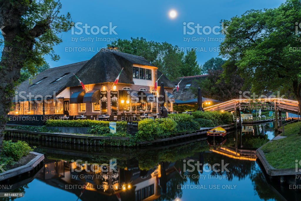 Pizzaria in Giethoorn Full Moon stock photo