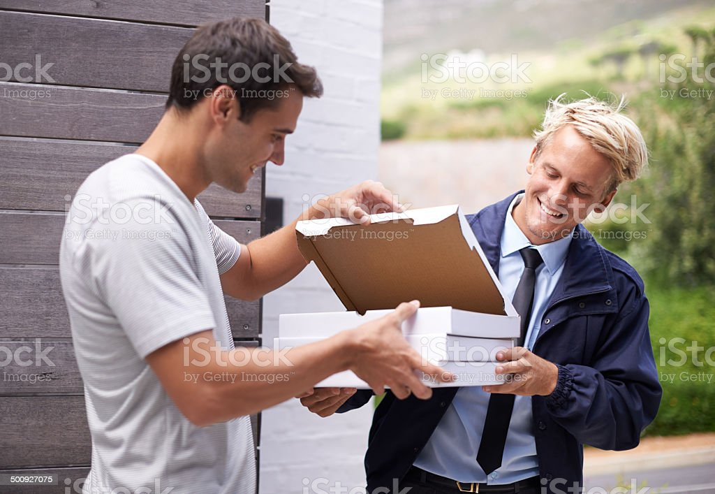 Pizza's here!! stock photo