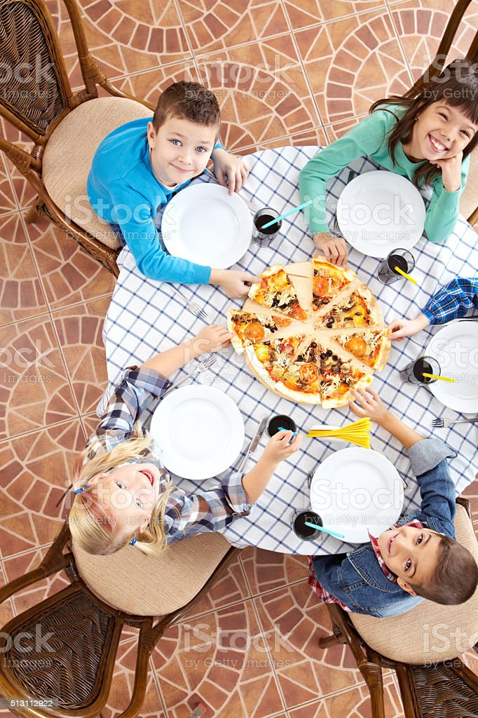 Pizzeria for children stock photo