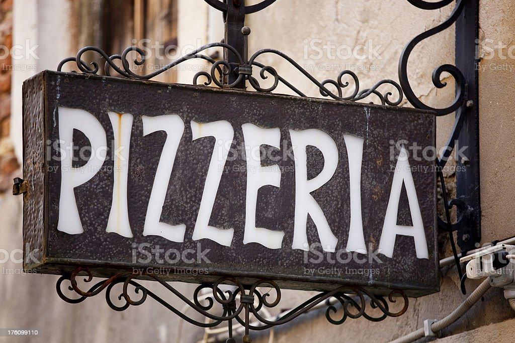 Pizzeria Pizza Sign, Italian Restaurant, Venice Italy royalty-free stock photo