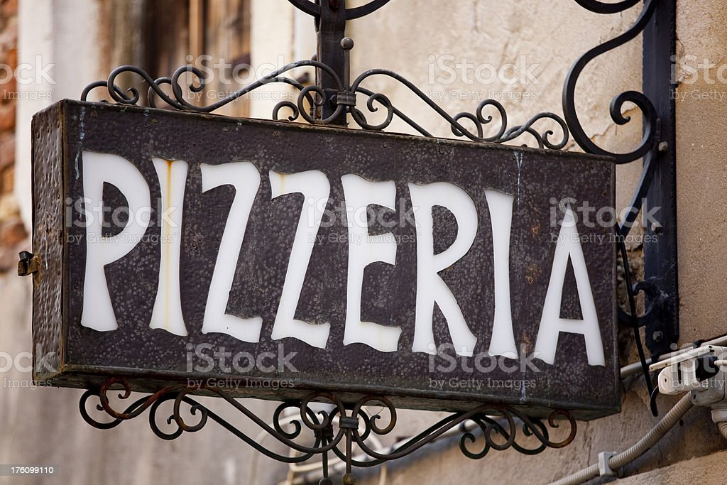 Pizzeria Pizza Sign, Italian Restaurant, Venice Italy stock photo
