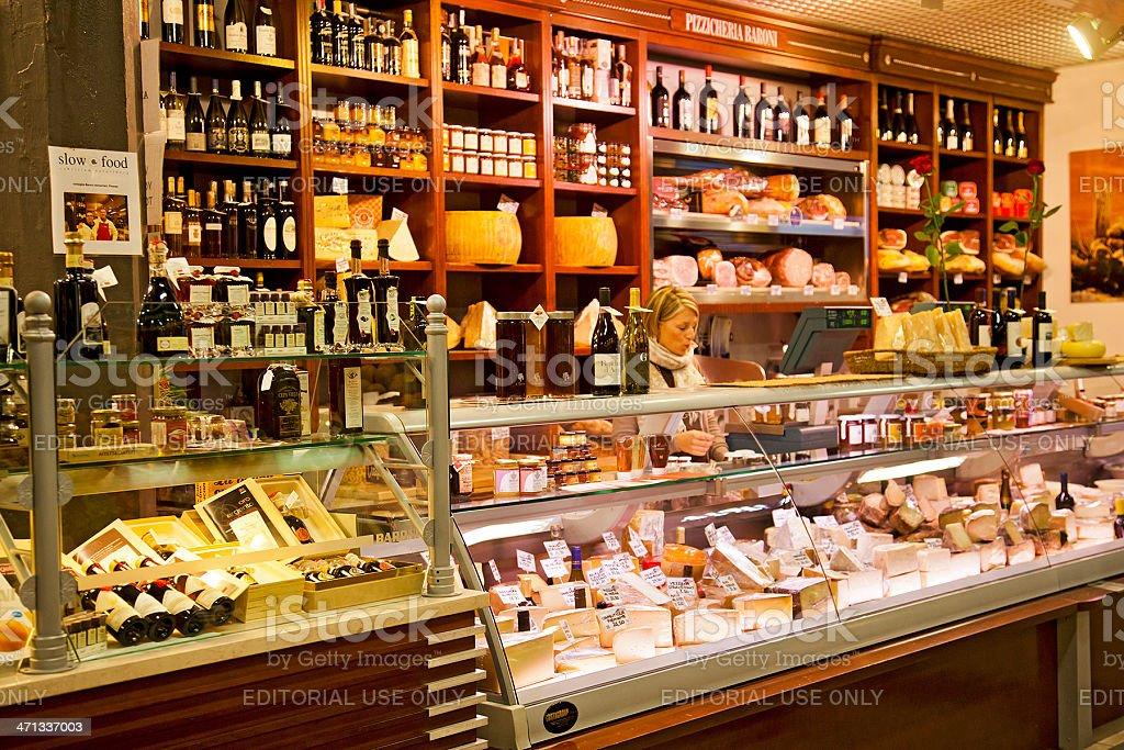 Pizzicheria (delicatessen) stall at the Mercato Centrale, Florence stock photo