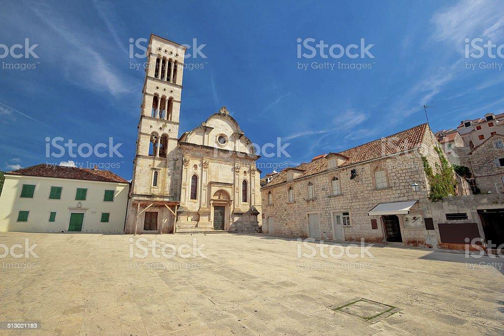 Pjaca square in Town of Hvar stock photo