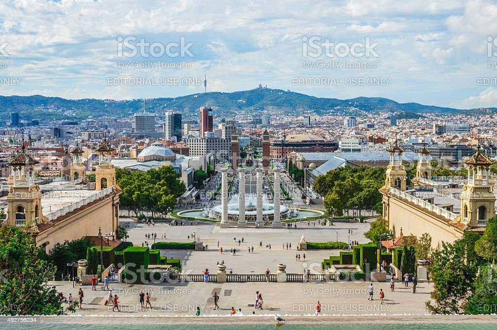 Plaça d'Espanya in Barcelona Spain stock photo
