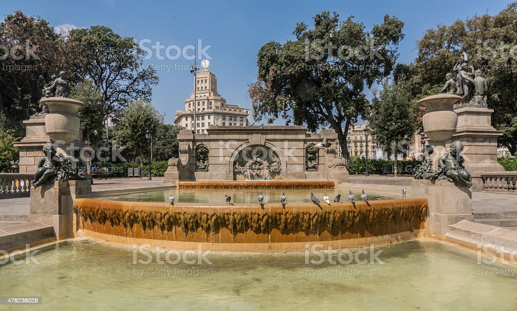 Placa de Catalunya in Barcelona stock photo