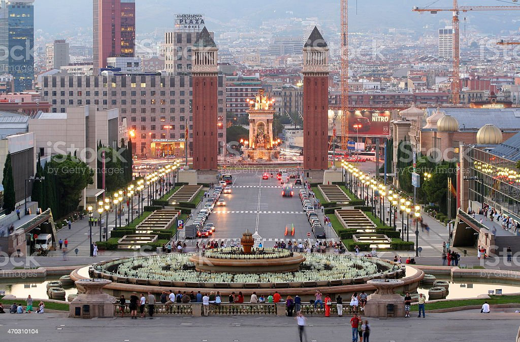 Placa d'Espanya Barcelona stock photo