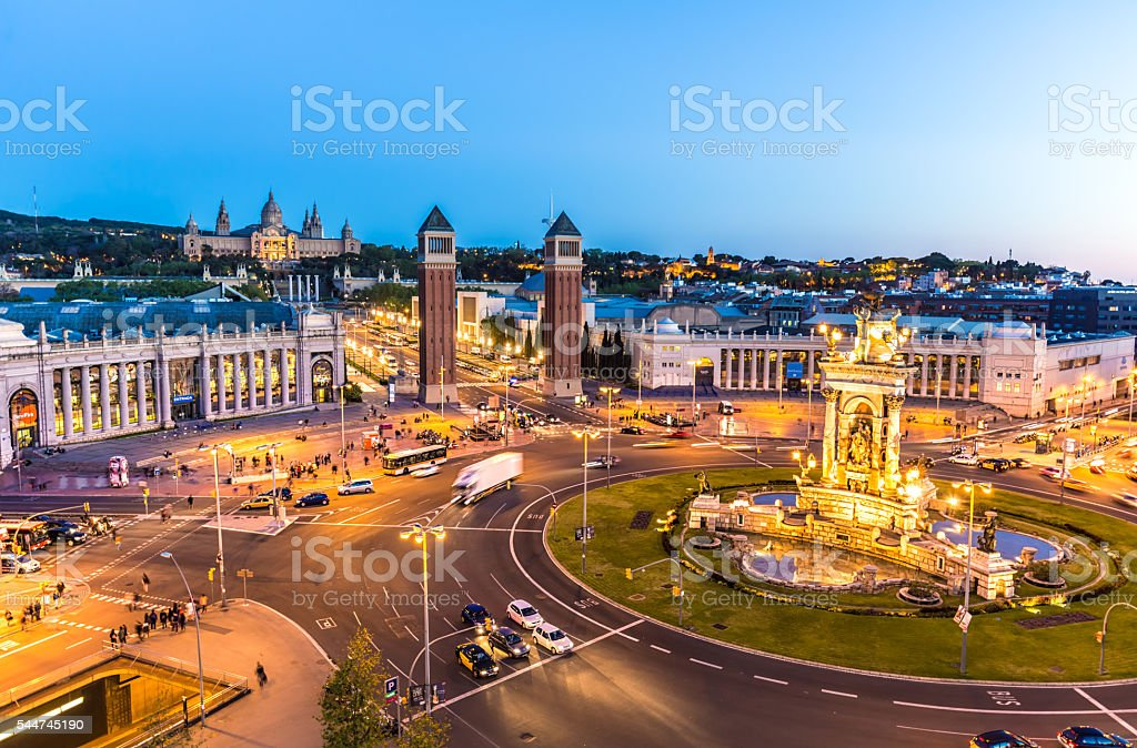 Placa Espanya and Montjuic in Barcelona stock photo