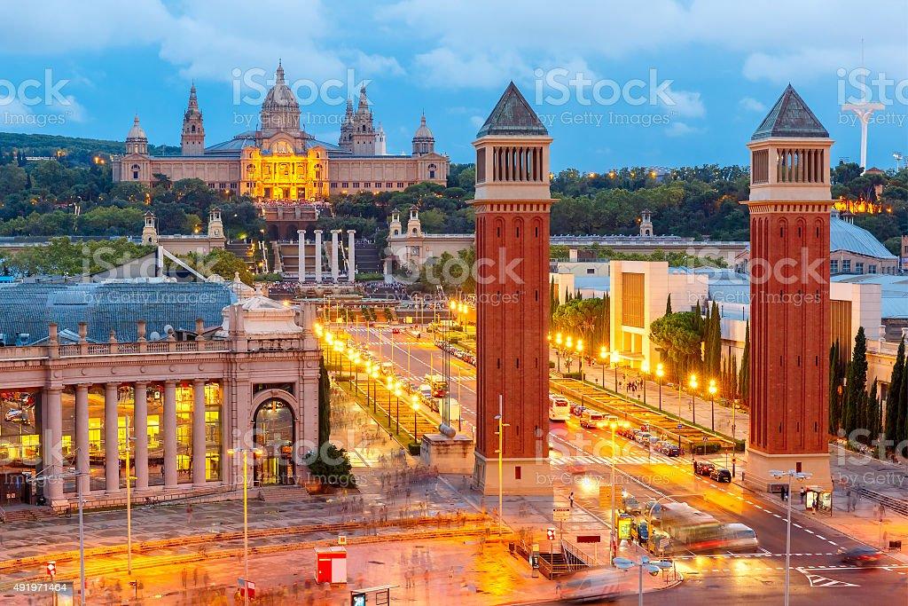Placa Espanya in Barcelona, Catalonia, Spain stock photo
