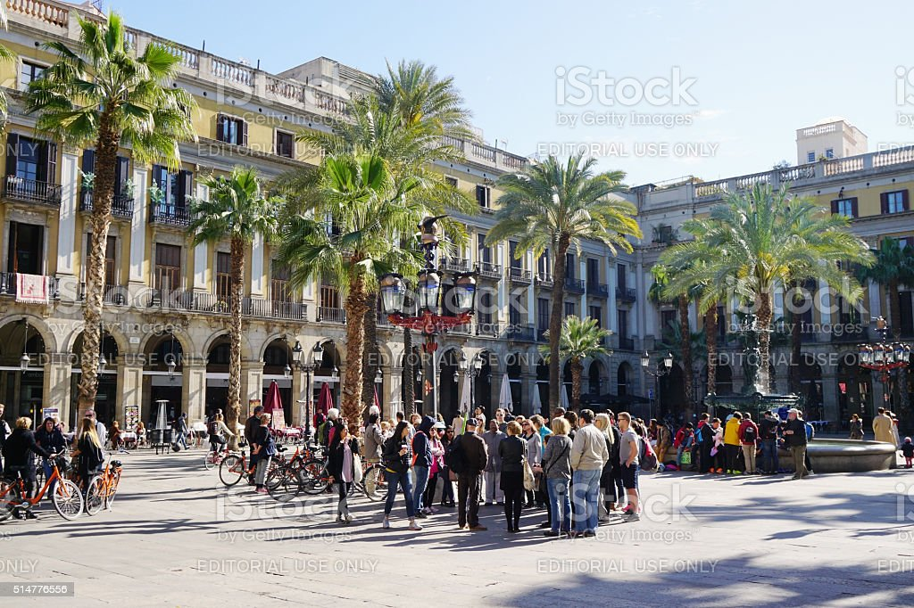 Placa Reial in Barcelona with tourist crowd stock photo