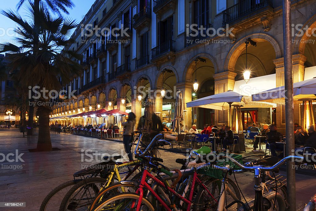 Placa Reial in  evening time. Barcelona, Catalonia stock photo