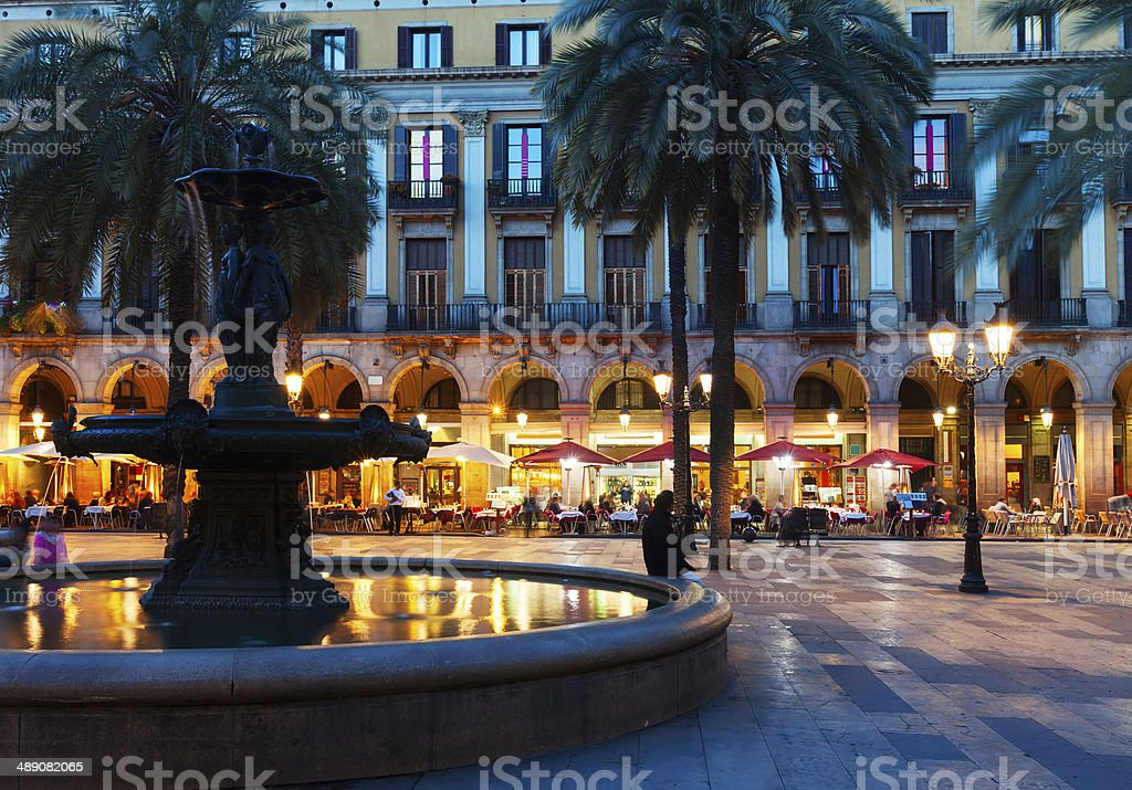 Placa Reial in  night. Barcelona stock photo