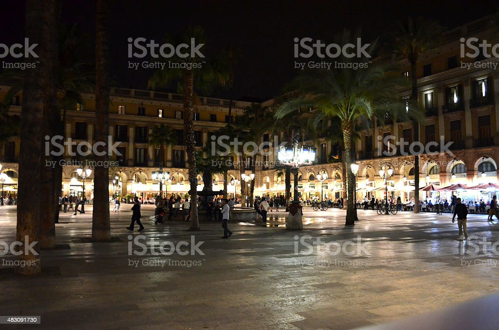 Placa Reial in summer night Barcelona stock photo