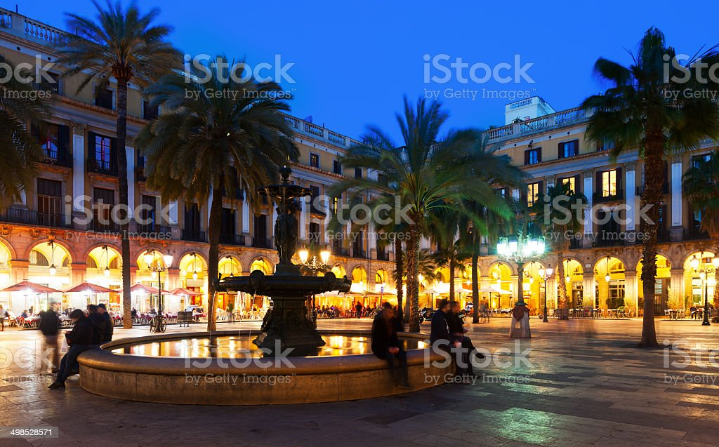 Placa Reial in winter evening. Barcelona stock photo