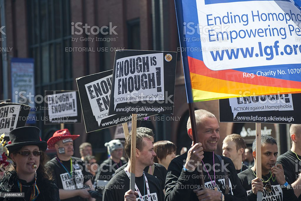 Placards during Manchester Gay Pride Parade. stock photo