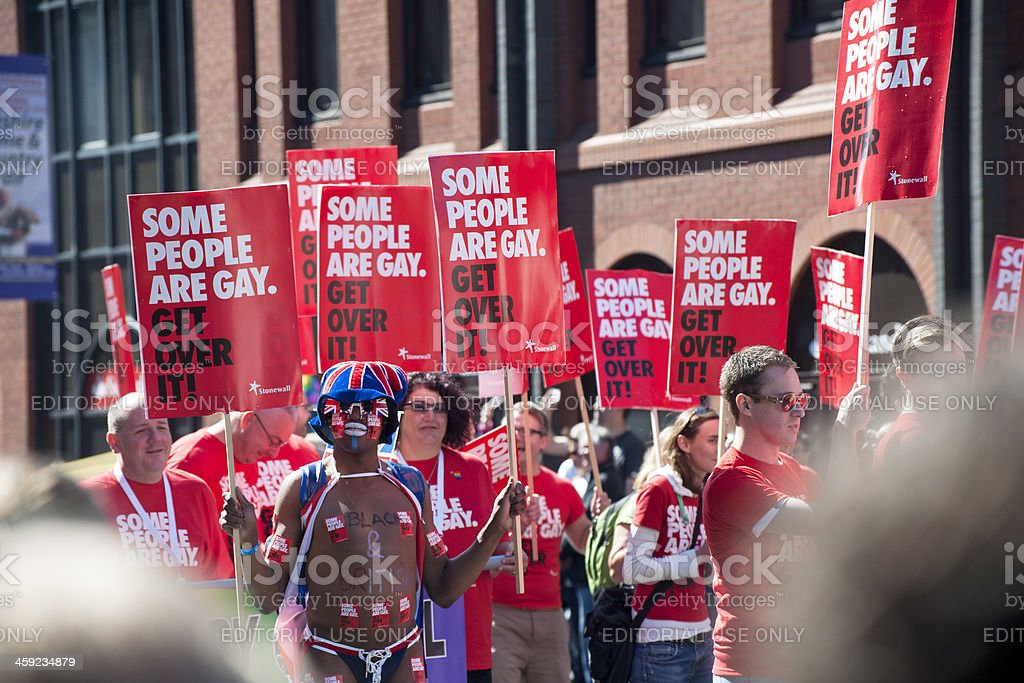 Placards, Some People are gay, during Manchesters Pride Parade stock photo