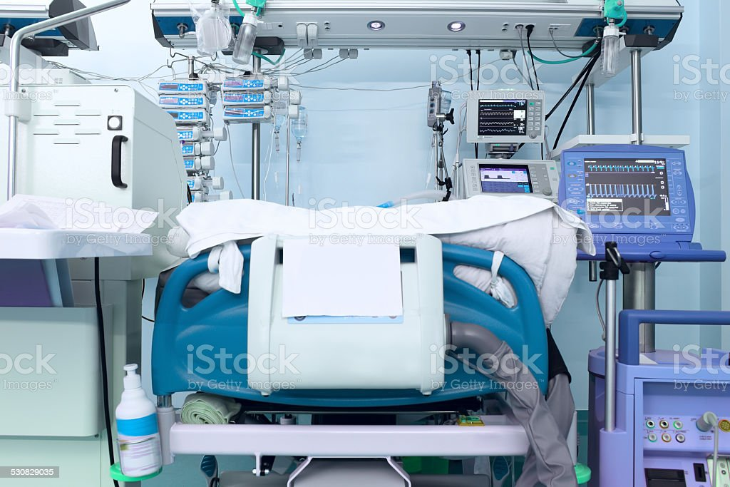 place a heavy patient in modern ICU stock photo
