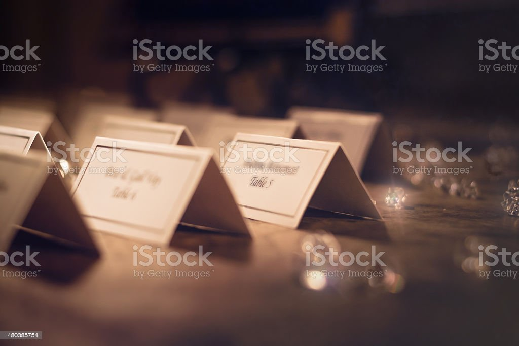 Place Cards for Wedding Reception stock photo