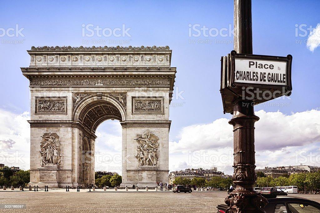 Place Charles de Gaulle Paris stock photo