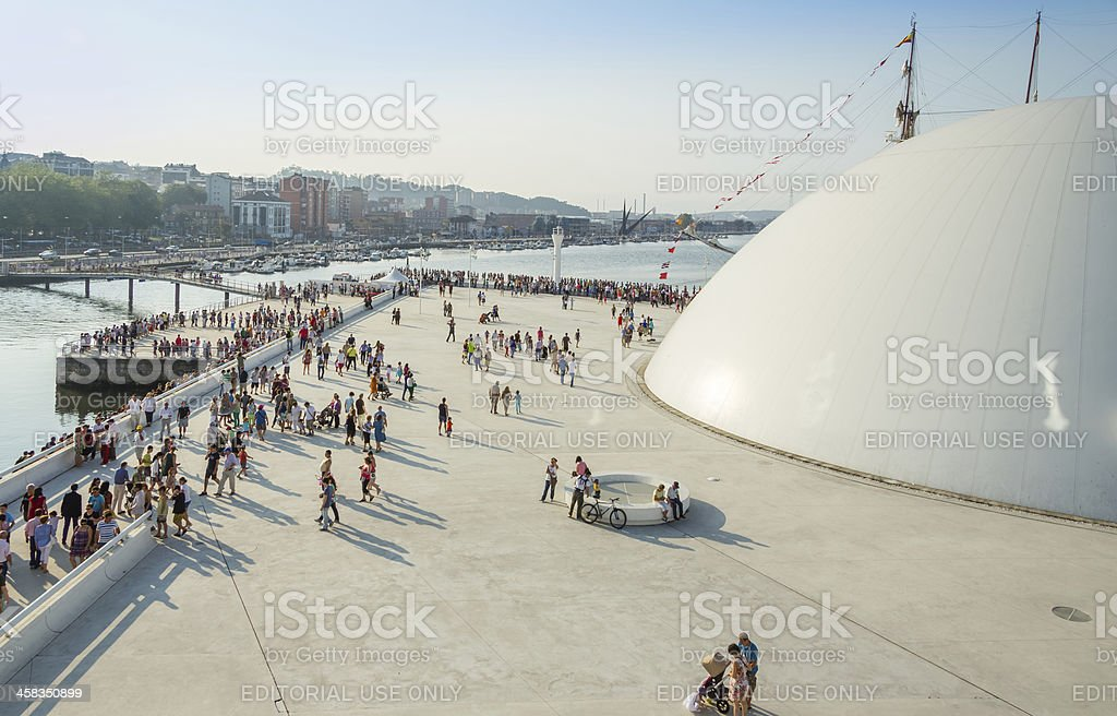 Place corner of Niemeyer Center in Aviles, Spain stock photo