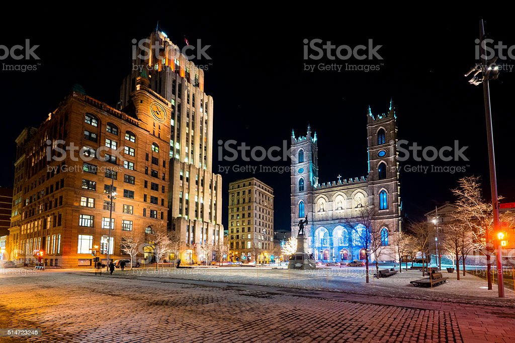 Place d'Armes and Notre-Dame Basilica stock photo