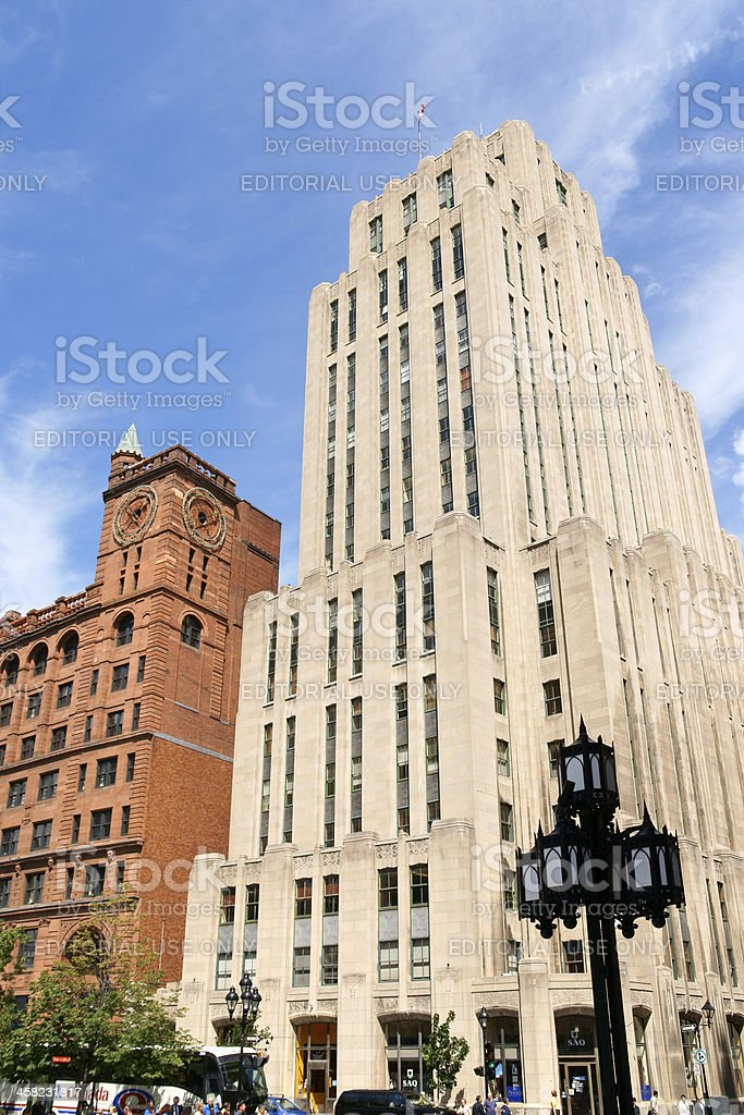 Place d'Armes in Montreal stock photo