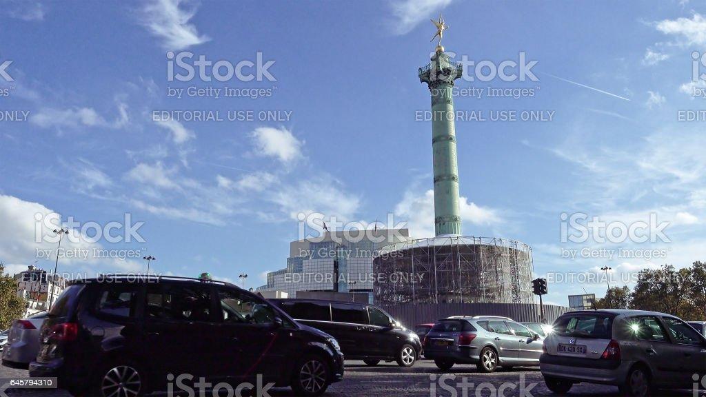 Place de la Bastille and Bastille opera in Paris stock photo
