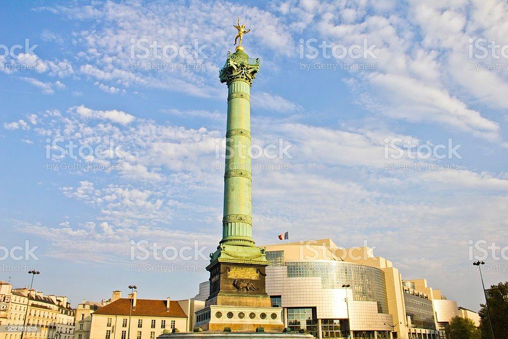 Place de la Bastille and the and Opera Bastille, Paris, France stock photo