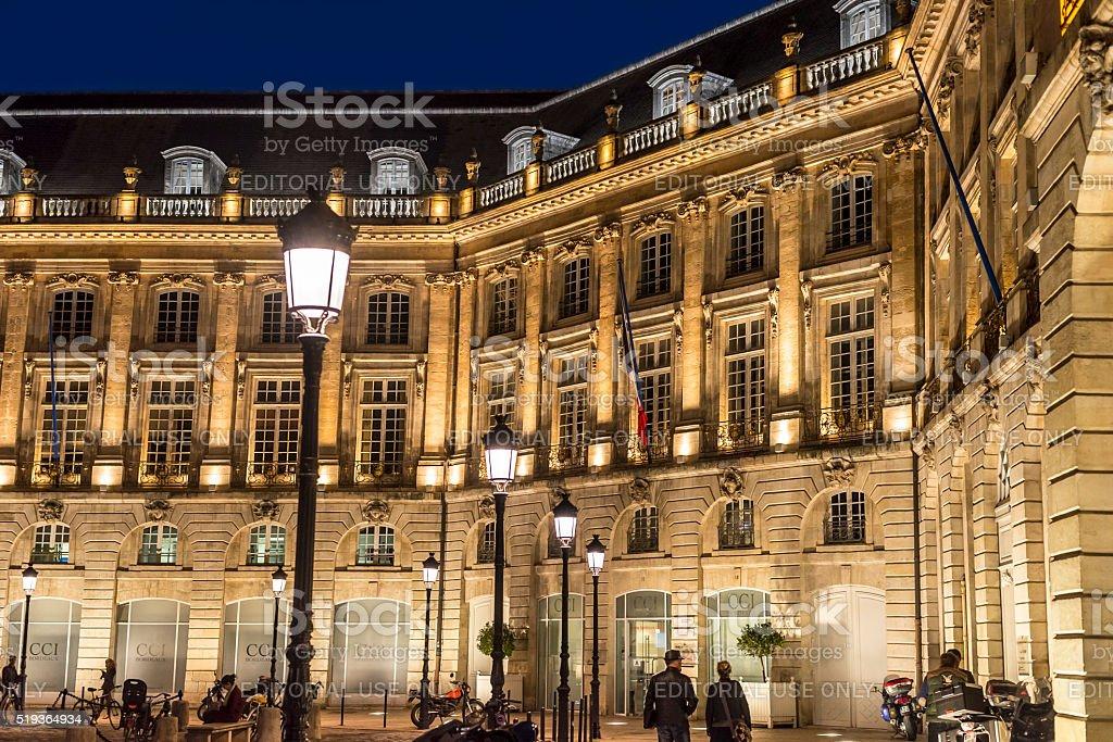 Place de la Bourse square at nigh. Bordeaux, Aquitaine. France. stock photo