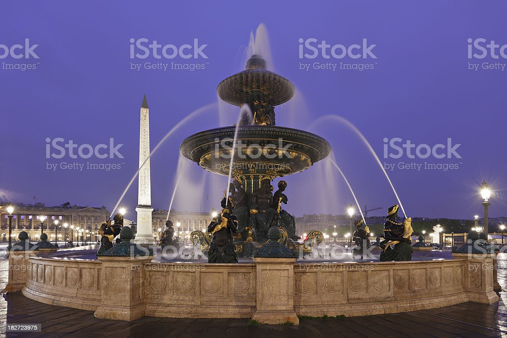 Place de la Concorde at Night stock photo