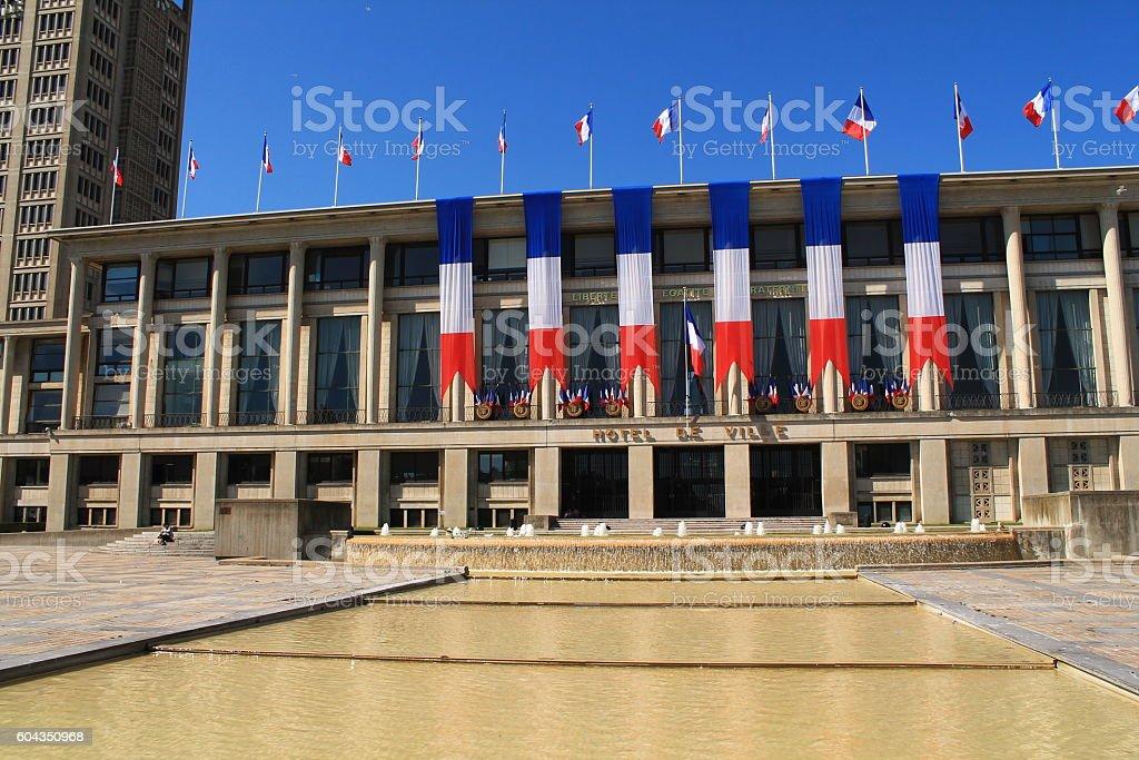 Place de l'hotel de ville au Havre stock photo